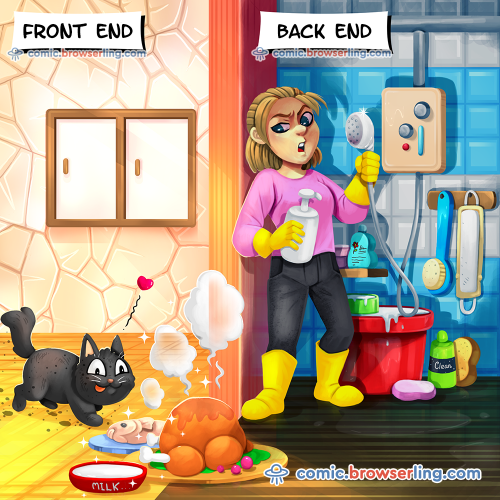 Front end vs back end.  We love programmer, nerd and geek humor! For more funny computer jokes visit our comic at https://comic.browserling.com. We're adding new programming jokes every week.