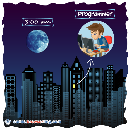 Programmers are the only people awake at 3am.  We love programmer, nerd and geek humor! For more funny computer jokes visit our comic at https://comic.browserling.com. We're adding new programming jokes every week.